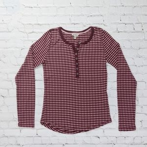 Lucky Brand Tops - Lucky Brand Red & Mauve Long Sleeve Knit Top